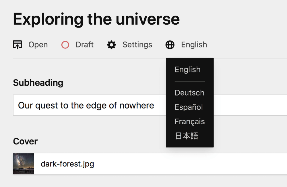 A screenshot of the translation switcher